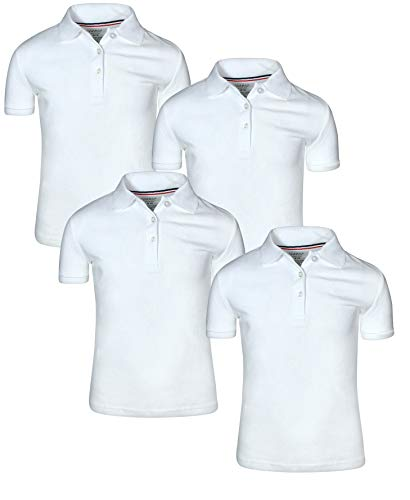 (French Toast Girl\\\'s Uniform Polo Short Sleeve Interlock (4 Pack), White/White, X-Large - 14/16\'')