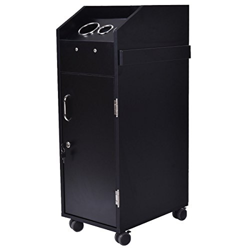 Giantex Black Beauty Salon Spa Rolling Trolley 4 Storage Trays &Locking Door Equipment