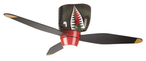 Craftmade WB348TS, Tiger Shark Warplane With Light, 48-Inch 3 Blade Hugger Ceiling Fan With Pull Chain
