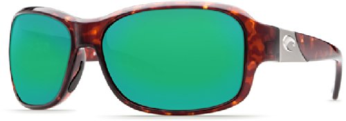 Green Mirror Wave 400 Glass - Costa Del Mar Sunglasses - Inlet- Glass / Frame: Tortoise Lens: Polarized Green Mirror Wave 400 Glass