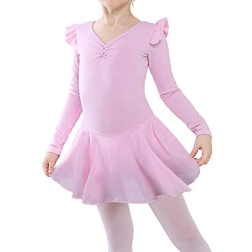 - BAOHULU Girl's Skirted Long Sleeve Dance Leotards for Ballet B189_Pink_L