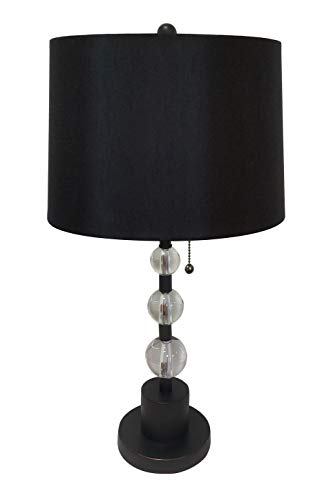 (Royal Designs LBO-1005ORB-HB-610-14BLK Lamp Base with Crystal Ball Accents and Shallow Drum Hardback Lamp Shade, Oil Rub Bronze Lamp Base and Black)