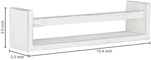 MyGift Set of 2 Vintage White Wood Wall-Mounted Spice Racks