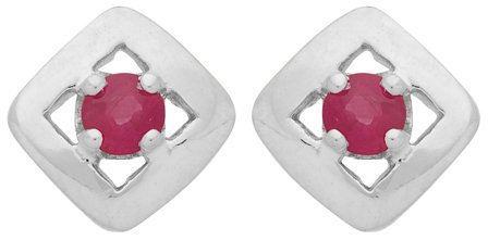 Diamantly - Boucles D'oreilles or Gris Carrée Rubis - or Gris 375/1000 (9 Carats) - Femme - Fille