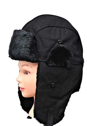 WindPro Thermal Winter Trapper Hat (Black Faux Fur, Wool)