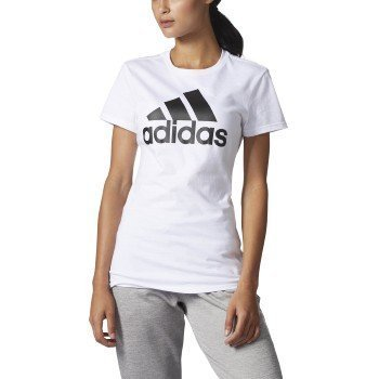 adidas Womens Athletics Graphic Fitted Tee (White/Black/Logo, Small)