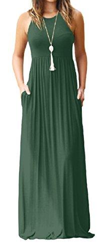 (PRIMODA Women's Casual Long Dresses Sleeveless Tank Tunic Plain Maxi Dresses with Pockets(Army Green,L))