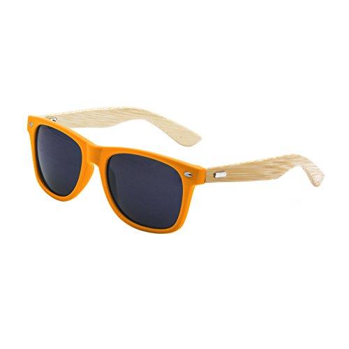 LogoLenses Men's Bamboo Wood Arms Classic Sunglasses - Orange Wayfarer
