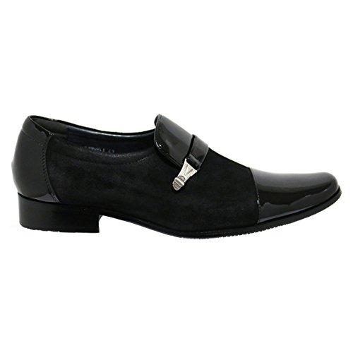 Robelli Designer Men's Faux Patent Leather & Suede Smart Loafer Shoes XugUl