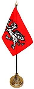 Flagmania® 12 Stück Englisch Wessex Drache 15 x 10 cm Tischflaggen & Goldfarbene Kunststoffkegel + 59 mm Button Badge
