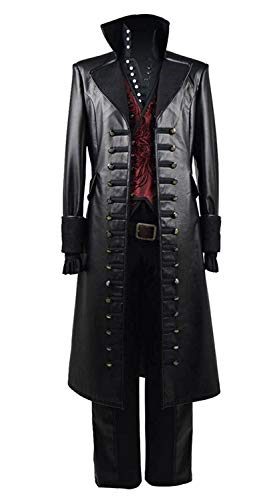 Hook Once Upon A Time Costume (Beauty Costume Mens Cosplay Costume Red Vest PU Pleather Halloween Outfit)