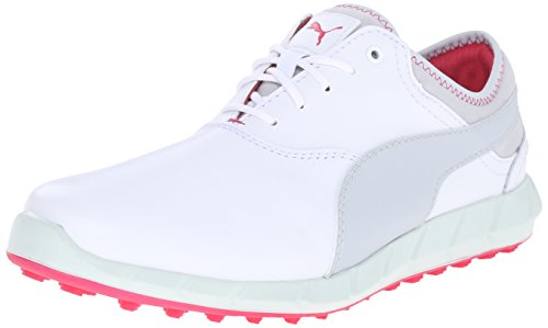 PUMA Women's Ignite WMNS Golf Shoe, White/Glacier Gray/Formula, 9 M US