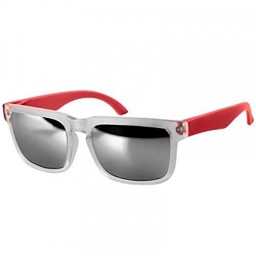 Unisex con Opacada Gafas de Espejo Sol Rojo de Plateado Colores Montura Caspar SG018 Retro Varios aqY8X