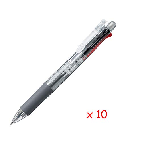 Zebra B4SA1 Clip-on multi 0.7mm Multifunctional Pen (10pcs) - Transparent (with Free 5-Color Sticky Notes)