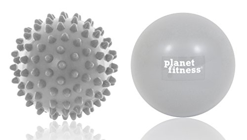 Planet Fitness Hot & Cold Massage Therapy Balls Kit with 1 Smooth and 1 Textured Spike Massage Ball Rollers for Muscle & Foot Pain
