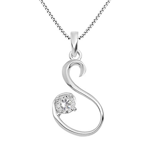 JewelExclusive Sterling Silver .05 cttw White Diamond Initial S Pendant