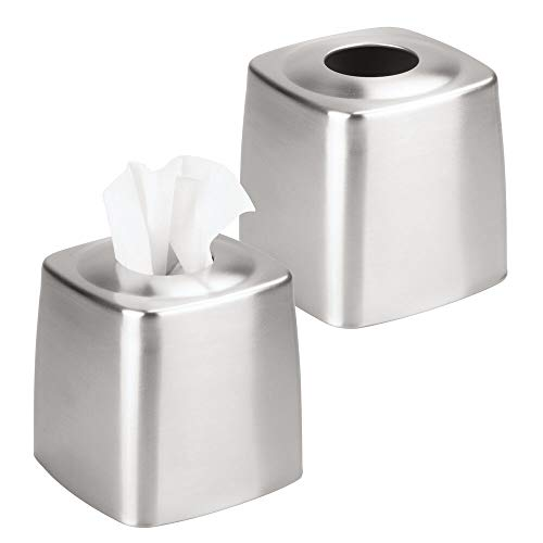 mDesign Metal Square Facial Tissue Box Cover Holder for Bathroom Vanity Countertops, Bedroom Dressers, Night Stands, Desks and Tables - 2 Pack - Brushed Stainless Steel (Tissue Stainless Steel Box)