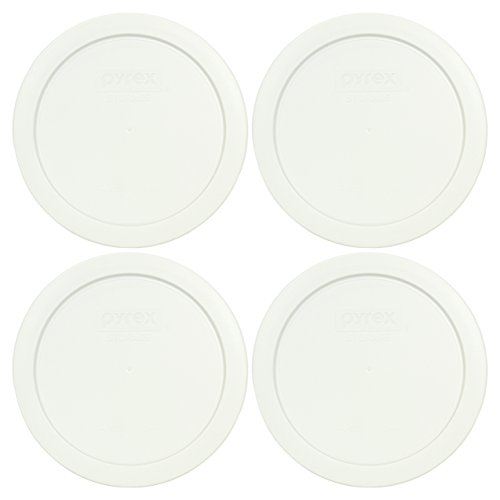Pyrex White 4 Cup Round Plastic Cover #7201-PC 4-Pack (Container not included)