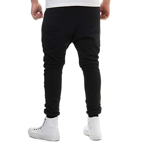 Realdo Clearance Sale, Casual Loose Camouflage Patchwork Contrast Elastic Waist Sports Mens Jogger Pants Trousers(XX-Large,Black) by Realdo (Image #1)