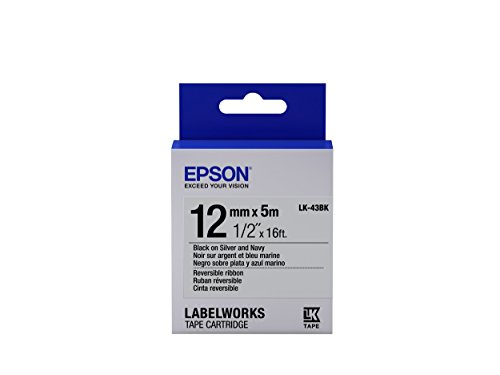 "Epson LabelWorks Reversible Ribbon LK (Replaces LC) Tape Cartridge ~1/2"" Black on Silver & Navy (LK-43BK) - For use with LabelWorks LW-300, LW-400, LW-600P and LW-700 label printers"