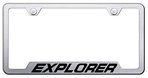 Automotive Gold Laser Etched Explorer Brushed Cut-Out Frame
