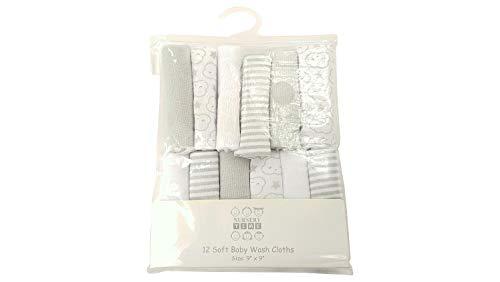 Paños de lavado de bebé supersuaves, paquete de 12 nubes grises y rayas, ideal como regalo para baby shower multiusos…