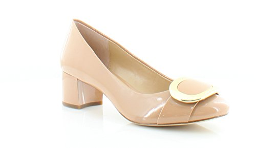 Michael Kors Womens Pauline Mid Pump Leather Closed Toe Classic Pumps Dark Nude Patent 0OBwQSyc