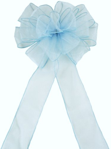 Pew Bows Light Blue Sheer - Set of 4 Bows - Reception Decoration