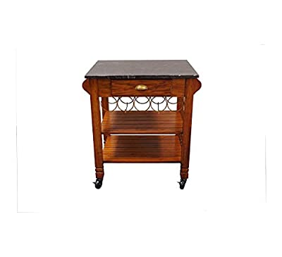 Wood & Style Furniture Oak Caster with Marble Top Kitchen Island Home Office Commerial Heavy Duty Strong Décor