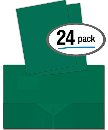Heavyweight Plastic 2 Pocket Portfolio Folder, Letter Size Poly Folders by Better Office Products, 24 Pack (Green)