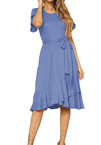 levaca Women Summer Short Sleeve Casual Flowy Midi Dress Light Blue XL]()