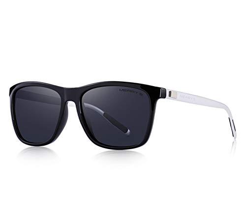 Unisex Retro Aluminum Sunglasses Polarized Lens Vintage Sun Glasses For Men/Women S8286,C03 Black Silver