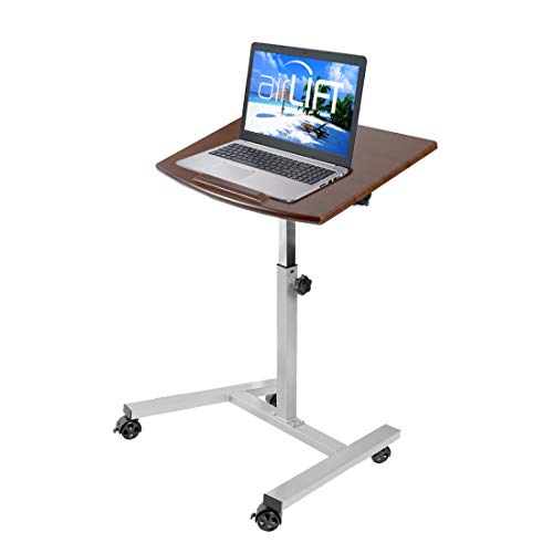 "Seville Classics Tilting Mobile Laptop Computer Desk Cart with Stopper Ledge, Height-Adjustable from 23.6"" to 36.4"" H Walnut"