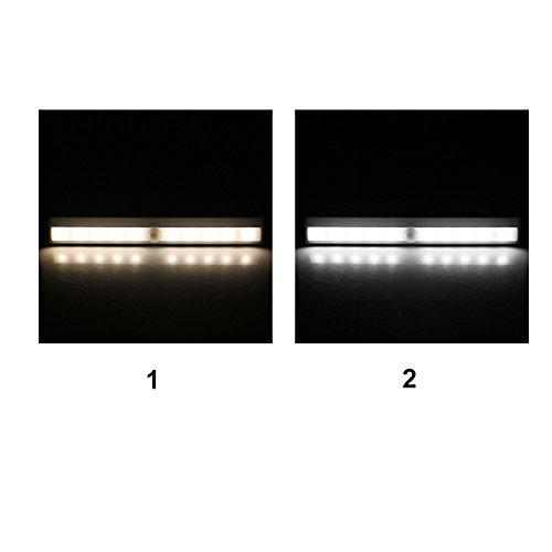 Closet Lights Touch Light,Wireless Motion Sensor Cabinet Lights 10-LED USB Rechargeable Closet Lights LED Under Cabinet Lighting(White) by cyclamen9 (Image #1)