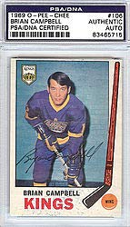 Brian Campbell Signed 1969 O-Pee-Chee Card #106 - PSA/DNA Authentication - NHL Hockey Cards