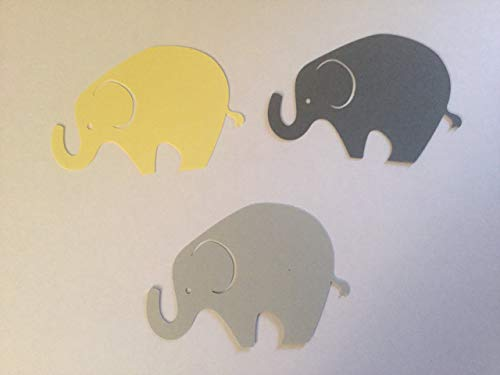 (24 Light Gray Dark Gray Yellow Elephant Cutout 3 3/4 Inch Elephant Cut Outs Large Elephant Diecut Elephant Baby Shower Elephant Theme)
