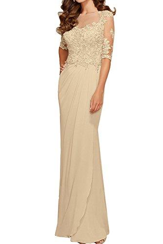 Champagner mia Damen Abendkleider Abschlussballkleider Langarm Braut Partykleider Rot Promkleider Spitze Festlichkleider La PqABZS
