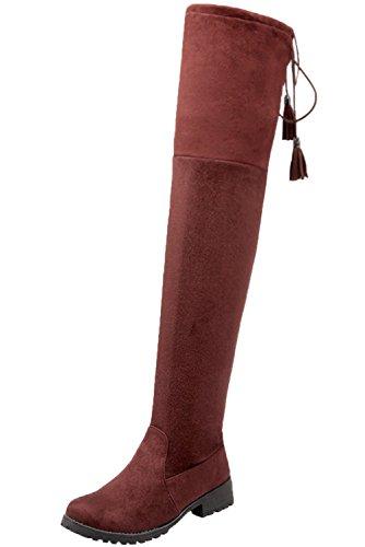 Casual Hiver Bottes Marron BIGTREE Chaudes Bottes Longues Suède Pliable Femme De Plat Automne Lacets Confortable Cuissardes Faux wgIg4qTY