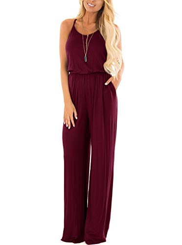 Women Summer Casual Loose Spaghetti Strap Sleeveless Open Back Wide Leg Long Pants Romper Jumpsuits Burgundy Small -