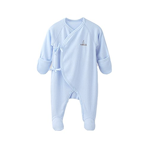 COBROO Unisex Newborn Footies Pajamas with Built-in Mittens, 100% Cotton Newborn Baby Footed Rompers for Sleep and Play Blue