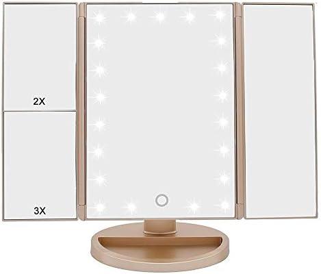 トライは、22のLEDライトタッチスクリーンと3X / 2X / 1X拡大ミラーのダブルパワーサプライモードでライトアップ化粧メイクアップミラーを折ります (Color : Gold)