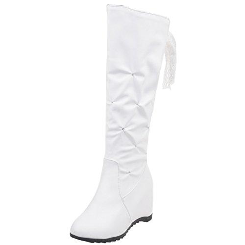 AIYOUMEI Damen Keilabsatz Kniehohe Stiefel mit Strass und Spitzenbänder Bequem Keilstiefel Weiß