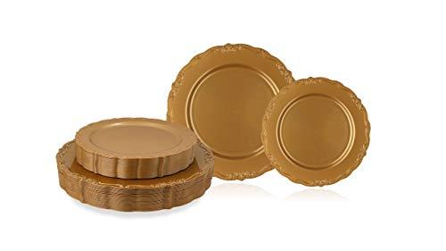 Disposable Plastic Plates Set, Vintage Gold Party Plates, 60 Pack (30 Guest) 30 x 10.25