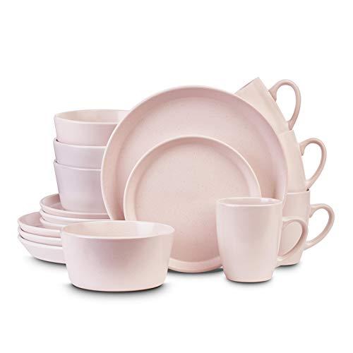 Stone Lain Stoneware Dinnerware Set, Service For 4, Pink