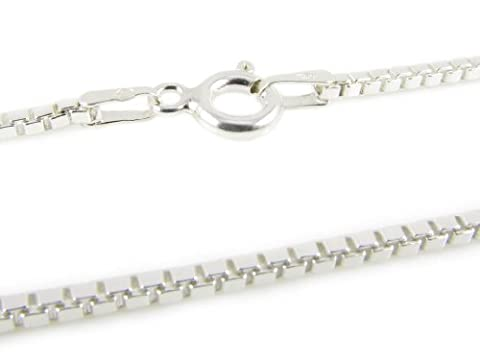 Luxury Venice Box Chain for Women by Amberta | Premium 925 Sterling Silver 1.0mm | Jewelry for Daily Wear or Special Occasions | Hypoallergenic and Nickel Free | Great Gift Idea for Her | 6 Sizes