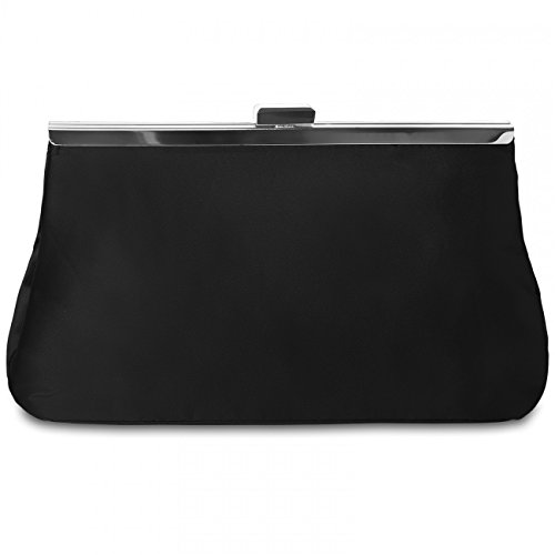 TA320 many Womens Bag Evening Satin Classic colors CASPAR Clutch Black 6wBA8Snq
