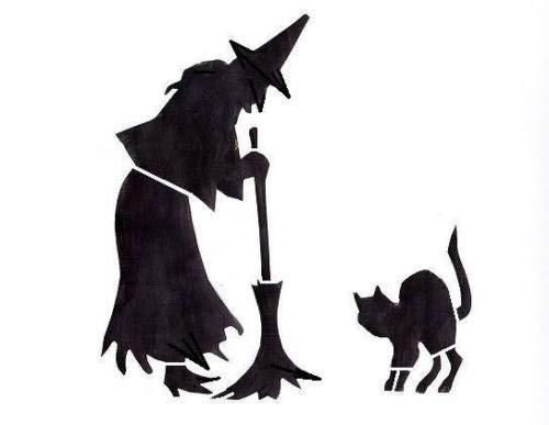 Halloween Stencil Witch with Black Cat Crafts, Signs -