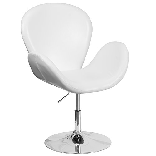 (Flash Furniture HERCULES Trestron Series White Leather Side Reception Chair with Adjustable Height Seat)