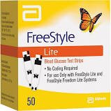 Freestyle Lite Blood Glucose, Pack of 50 Test Strip