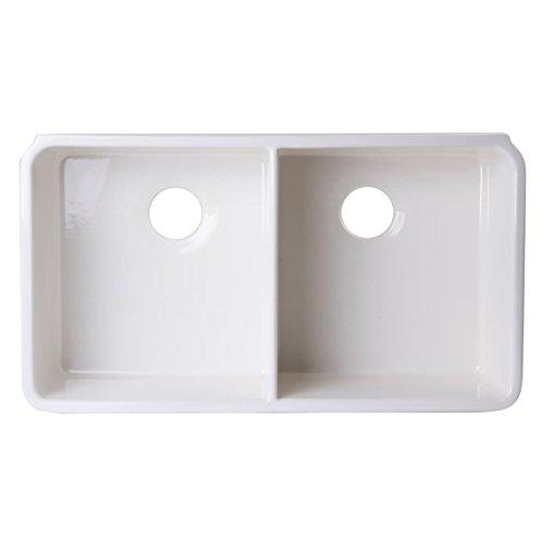 ALFI brand AB512UM-B Biscuit Double Bowl Fireclay Undermount Kitchen Sink, (Undermount Double Bowl Fireclay Sink)